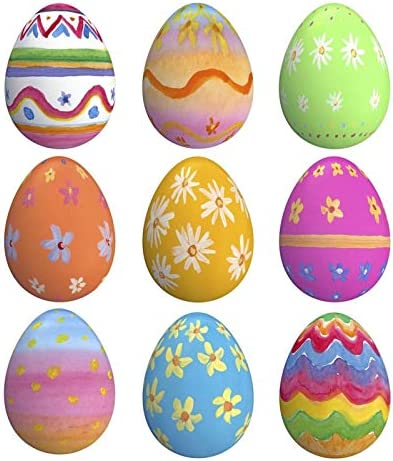12 Pcs Decorative Easter Eggs Multicolor Eggs Kids Pretend Play Set Egg Painting Toy DIY Tools for Crafts Wall Hanging Ornaments Home Garden Easter Decoration, 1.5 x 2.2 Inch