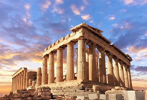 - LFEEY 5x3ft Sunset Greece Parthenon Photo Backdrop Historical Building Famous Palace Ancient Athens Acropolis Temple Column Photography Background Photo Studio Props