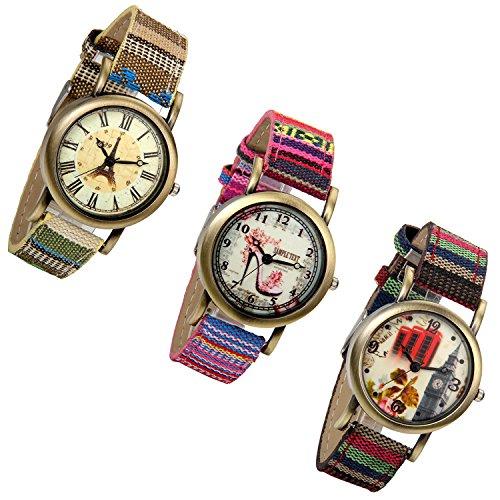 Amazon.com: Lancardo Paris Eiffel Tower Teen Girls Antique Brass Wrist Bracelet Watch Mesh Woven Canvas Strap: Watches