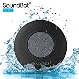 SoundBot? SB510 HD Water Resistant Bluetooth 3.0 Shower Speaker, Handsfree Portable Speakerphone with Built-in Mic, 6hrs of playtime, Control Buttons and Dedicated Suction Cup for Showers, Bathroom, Pool, Boat, Car, Beach, & Outdoor Use, Black