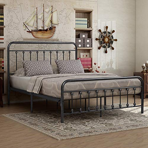 - Elegant Home Products Victorian Vintage Style Platform Metal Bed Frame Foundation Headboard Footboard Heavy Duty Steel Slabs Queen Full Twin Silver/Gray Finish (Queen)