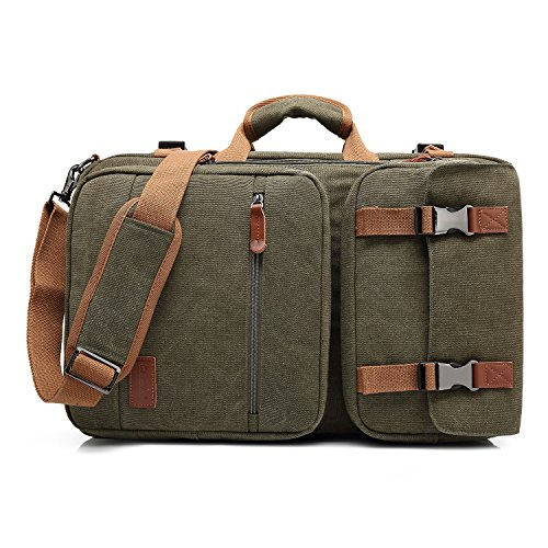 Amzbag Laptop Bag Convertible Backpack Messeng bag Laptop Case 17 Inches Water-resistance Canvas Handbag Business Briefcase Multi-functional Travel Rucksack For Men/Women(Army Green)