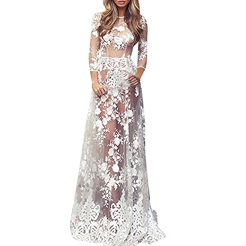 Alangbudu Women Lingerie Sexy Long Lace Dress Sheer Gown See Through Kimono Robe Floor Length White