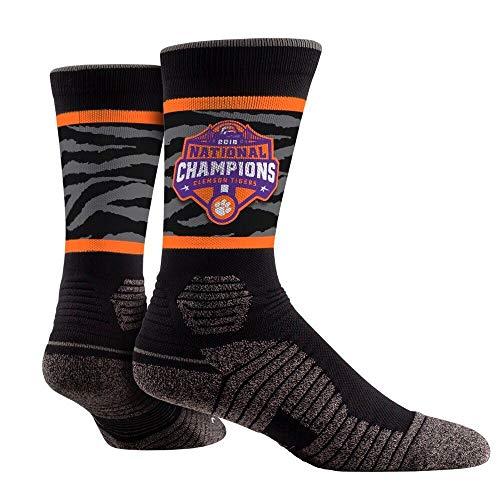Rock Em Elite Clemson 2018 Champion Hex NCAA Licensed Crew Socks (L/XL)