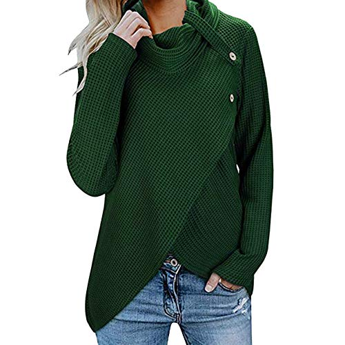 Sweater for Womens, FORUU Christmas Thanksgiving Friday Monday Under 10 Womens Long Sleeve Button Cowl Neck Casual Knitted Pullover Tunics -