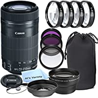 Canon EF-S 55-250mm f/4.0-5.6 IS STM Telephoto Zoom Lens for Canon SLR Cameras + 3pc Filter Kit + 4pc Macro Kit + 2.2x Telephoto Lens + Lens Hood + 14pc Bundle – International Version