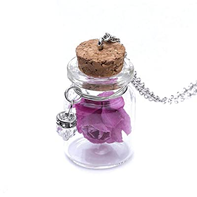 Myhouse Creative Luminous Flower Glass Bottle Pendant Necklace for Women,Purple: Arts, Crafts & Sewing