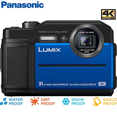 Panasonic Lumix DC-TS7A Waterproof Tough Digital Camera (Blue) – (Renewed)