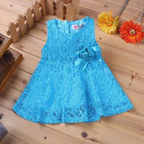Malloom® spitze Blumen mädchen Prinzessin Braut jungfer Pageant Tutu Tüll Kleid Party Hochzeitskleid Blau