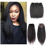 Shengqi Hair Kinky Straight Hair Bundles with Lace Closure, Yaki Straight Hair Weave Hair Human Lace Closure 7a Grade Virgin Human Hair Kinky Straight Lace Closure with Bundles (14 16 18 +12) Review