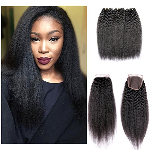 Shengqi Hair Kinky Straight Hair Bundles with Lace Closure, Yaki Straight Hair Weave Hair Human Lace Closure 7a Grade Virgin Human Hair Kinky Straight Lace Closure with Bundles (14 16 18 +12) Review