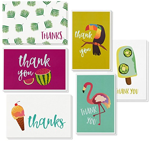 Thank You Cards - 48-Count Thank You Notes, Bulk Greeting Cards Set - Blank on The Inside, Tropical Summer Design - Includes Thank You Cards and Envelopes, 4 x 6 Inches