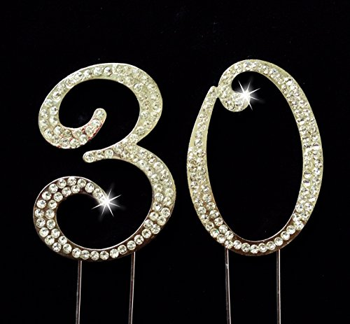 Large Rhinestone Golden Gold Crystal Thirty 30 Birthday Number Cake Topper Top