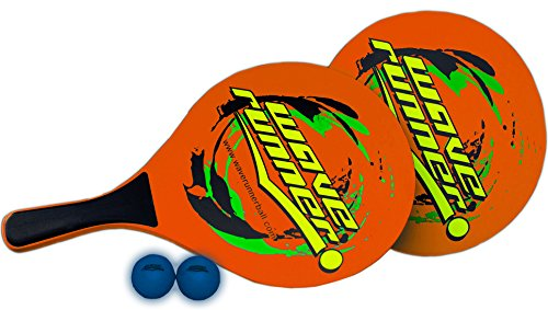 Wave Runner Sports Beach Paddles Wooden Game Set Includes 2 low resilience balls, 2 Wooden Beach Paddles, 1 Beach Paddle Carrying Case Great for Beach Pool Lake Park Gifts (Orange)