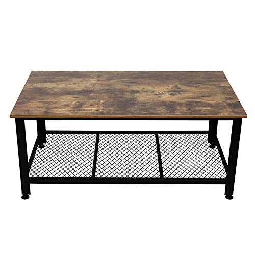 IRONCK Industrial Coffee Table for Living Room, Tea Table with Storage Shelf, Wood Look Accent Furniture with Metal Frame, Rustic Home Decor, Vintage Brown (Room Living Tea Table)