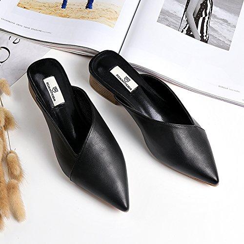 Angrousobiu Street Fashion Baotou Semi-Slippers Light-Niedrig Light-Niedrig Semi-Slippers und Frau Sommer Casual Wear außerhalb der Tipp Cool Drag und Drop Schwarz eabfbf
