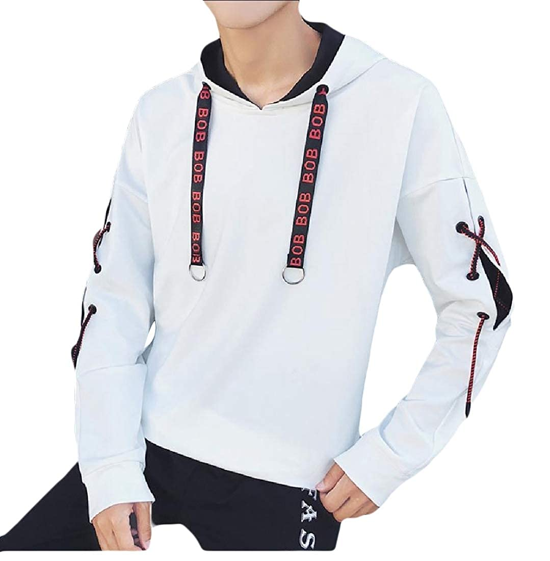 Mfasica Mens Solid Colored Hoodie Autumn Pullover Casual Cross Sweatshirt