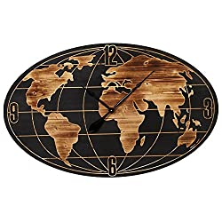 Midwest Large 42 inch Oval Globe Art Earth World Map Wooden Wall Clock