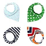 #8: Baby Bandana Drool Bibs For Boys/Girls, Pure/Absorbent/Organic Cotton Burp Cloths, Double Cloth, Set of 4, 4 Kinds of Patterns