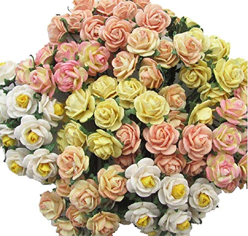 100 Mixed Yellow Tone Color 10 mm Artificial Mulberry Paper Mini Rose Flower Wedding Scrapbook DIY Craft Scrapbook Bouquet Craft Stem Handmade Rose Valentines Anniversary Embellishment