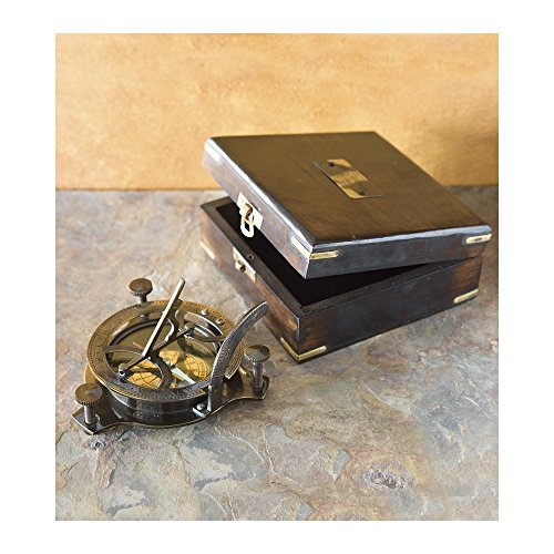 Brass Sundial And Compass With Wood Box by Wind & Weather (Image #1)