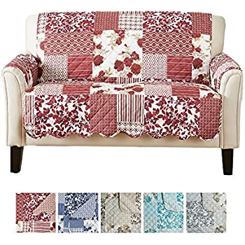 Great Bay Home Patchwork Scalloped Printed Furniture Protector. Stain Resistant Loveseat Cover. (Loveseat, Burgundy)