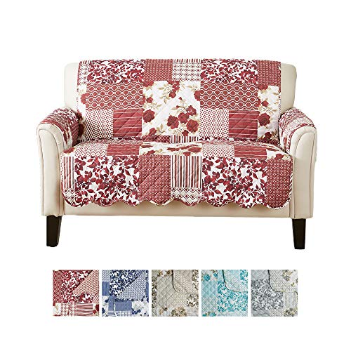 Great Bay Home Patchwork Scalloped Printed Furniture Protector. Stain Resistant Loveseat Cover. (54