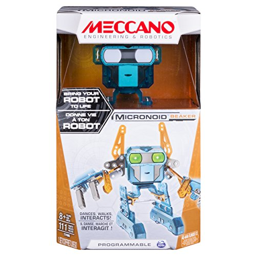 Meccano - Micronoid – Orange/Teal Beaker, Programmable Robot Building Kit, 111 Pieces, For Ages 8+, STEM Construction Education Toy
