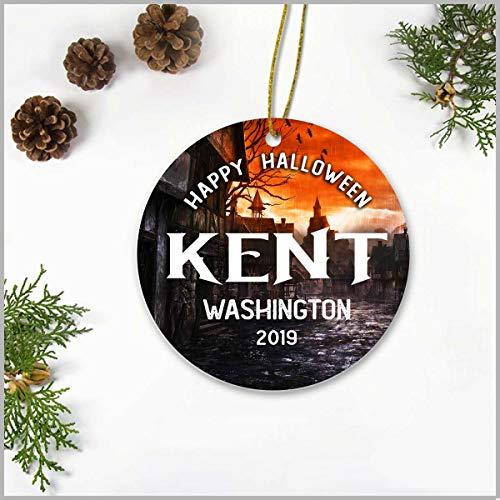 Kent State Halloween 2019 (Halloween Christmas Tree Ornaments 3 Inch - Happy Halloween Kent Washington WA 2019 - Happy Halloween Ceramic Ornamentfor Holiday Anniversary Home)