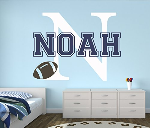 Custom Football (Custom Football Name Wall Decal - Baby Room Decor - Nursery Wall Decals - Sports Wall Decor Vinyl (30Wx22))