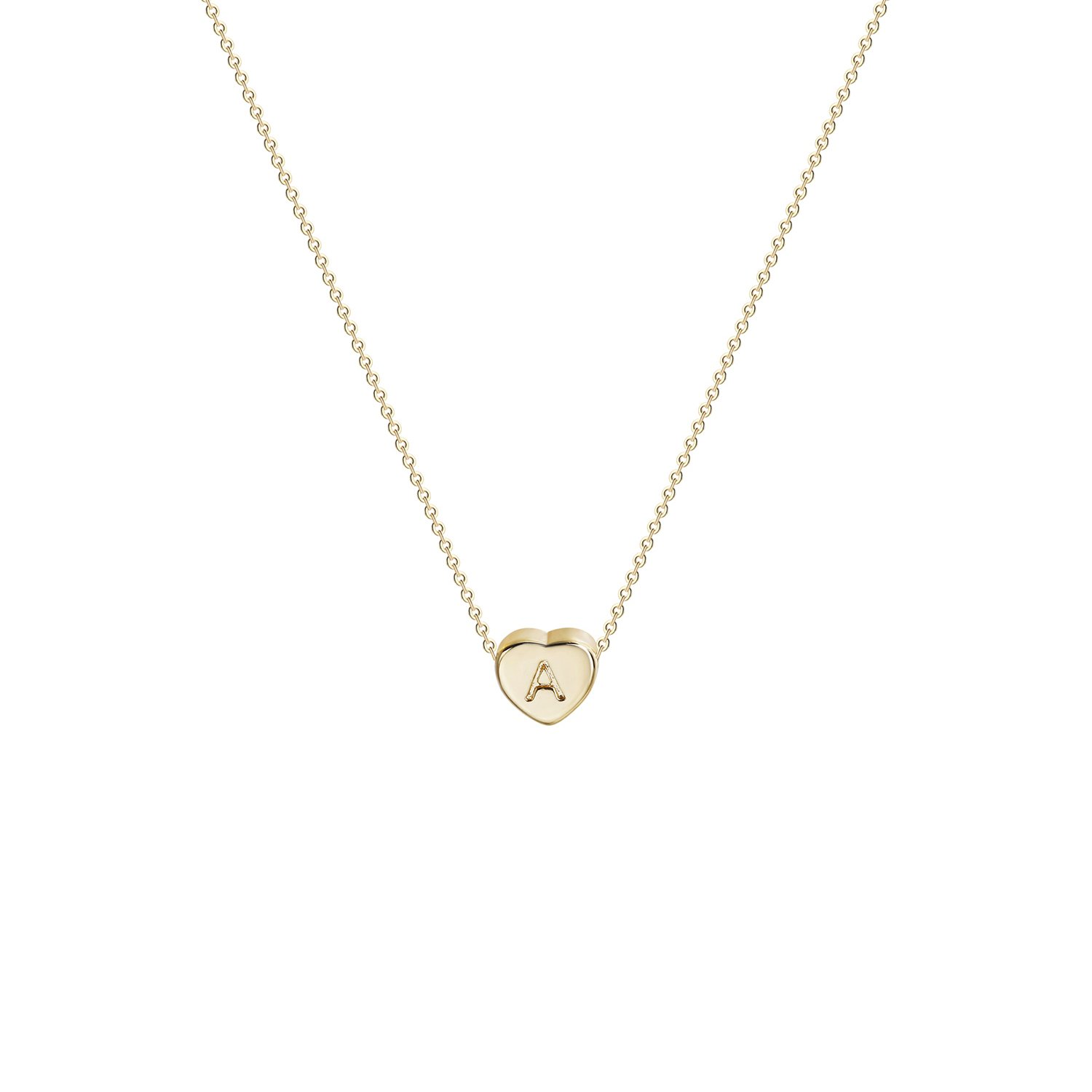 Tiny Gold Initial Heart Necklace-14K Gold Filled Handmade Dainty Personalized Heart Choker Necklace for Women Letter A by Fettero