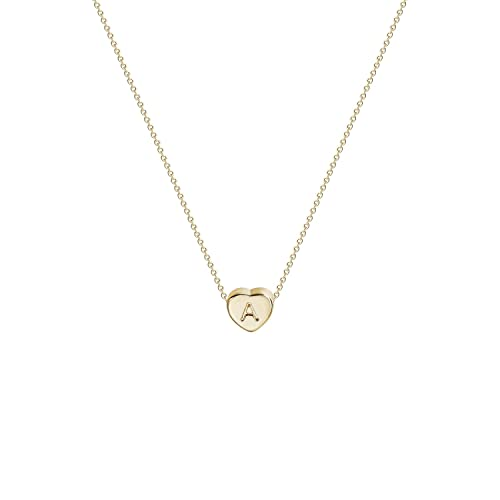 d3c512b8b980 Tiny Gold Initial Heart Necklace-14K Gold Filled Handmade Dainty  Personalized Heart Choker Necklace for