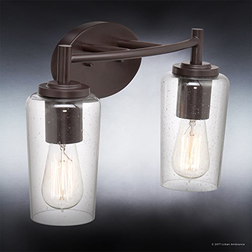 Luxury Vintage Bathroom Vanity Light, Medium Size: 10''H x 16''W, with Antique Style Elements, Elegant Estate Bronze Finish and Seeded Glass, Includes Edison Bulbs, UQL2271 by Urban Ambiance by Urban Ambiance (Image #2)