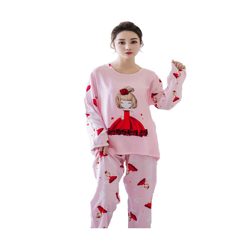 4e02e6ab61 Amazon.com   New Women Pajamas Sets Autumn Winter Sleeve Thin Cartoon Print  Cute Loose Sleepwear Girl Leisure Nightgown   Sports   Outdoors