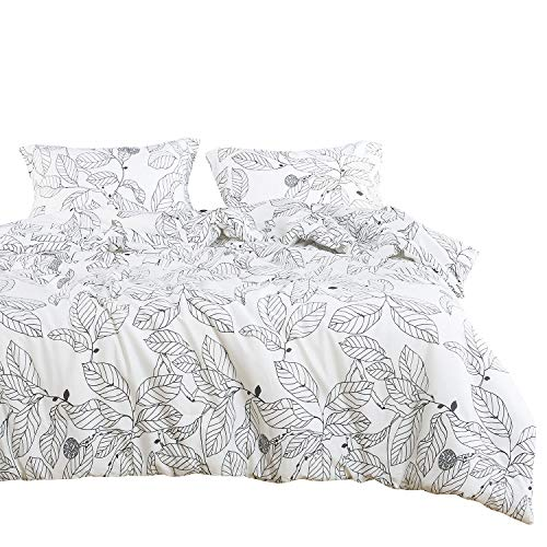 Wake In Cloud - Tree Duvet Cover Set, 100% Cotton Bedding, Black Branches Leaves Pattern Printed on White, with Zipper Closure (3pcs, Queen Size) (Duvet White And Black Set)