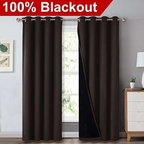 Cheap  NICETOWN Heat Blocking 100% Blackout Curtains, Durable Black Lined Blackout Curtains for..