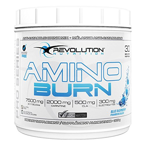 Amino Burn Blue Raspberry (30 Servings) | Fat Burning BCAA Formula with L-Carnitine