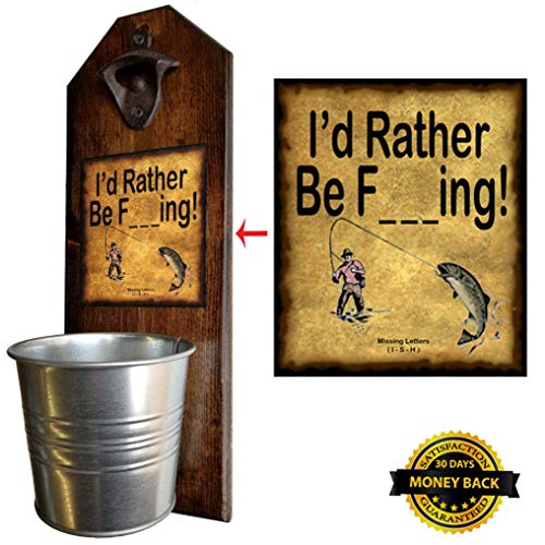 """""""I'd Rather Be Fishing"""" Bottle Opener and Cap Catcher. Handcrafted by a Vet. 100% Solid Pine 3/4″ Thick – Rustic Cast Iron Bottle Opener & Galvanized Bucket – Great Gift! (for your beer!) Review"""