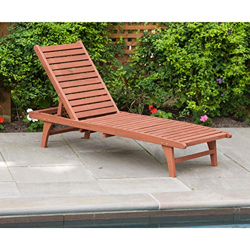 Red Cedar Chaise Lounge Chair - Leisure Season CL7111 Chaise Lounge with Pull-Out Tray