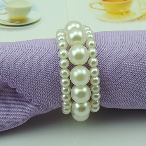 Tangpan Imitation Pearl Napkin Rings With Elastic For Wedding And Hotel With Soft Decoration For Napkin Rings (25) (Elastic Pearl Ring)