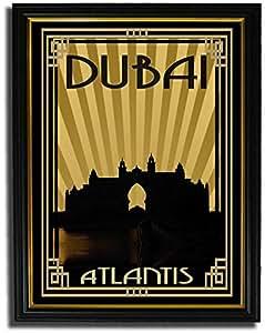 Atlantis - Sepia With Gold Border F08-nm (a3) - Framed