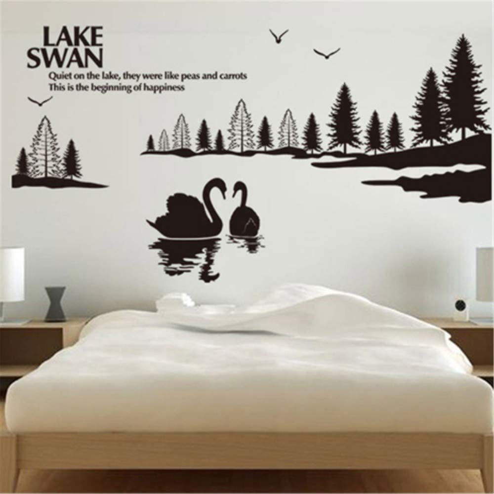 swan-themed-removable-wallpaper