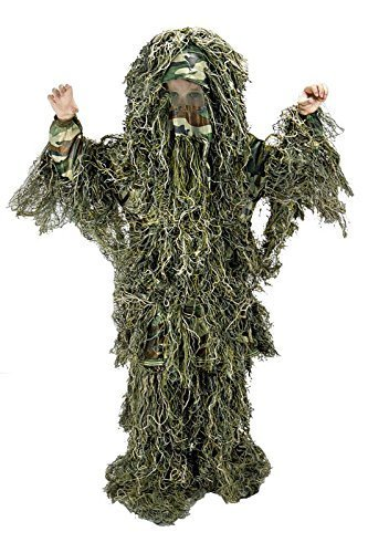 Kids Large/XLWoodland Camo Ghillie (Kids Ghillie Suit Costume)