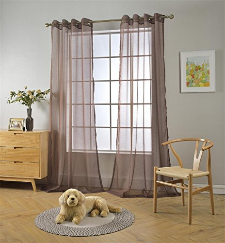 Miuco 2 Panels Grommet Textured Solid Sheer Curtains 95 Inches Long for Window Treatment (2 x 54 Wide x 95