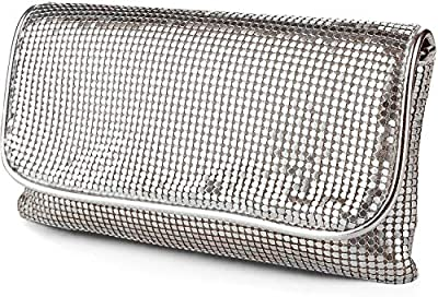 expouch Women's Bling Clutch Handbag Aluminum Metal Mesh Bag for Cocktail Party Wedding