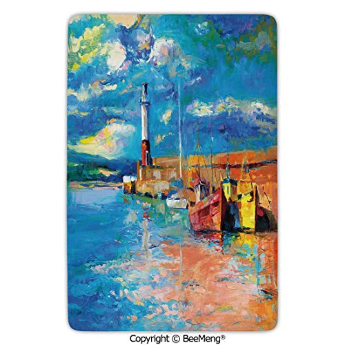 Mat Non-Slip Soft Entrance Mat Door Floor Rug Area Rug for Chair Living Room,Art,Oil Painting Tones Style Lighthouse and Boats on Sea Shore Town Coastal Charm Picture Decorative,Multicolor,16 x 24 in