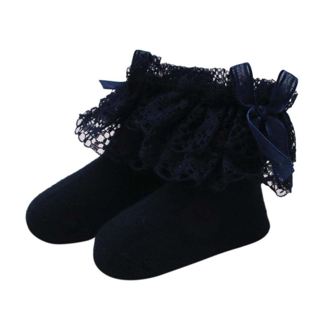 WARMSHOP Baby Girls Lace Bowknot Solid Color Cute Cotton Sock Ankle Non-Slip Socks Foe 0-1T Baby (Dark Blue, 0-1 Years Old)
