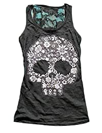 Smeiling Women Lace Skull Printed Sexy Sleeveless Summer Tank Top