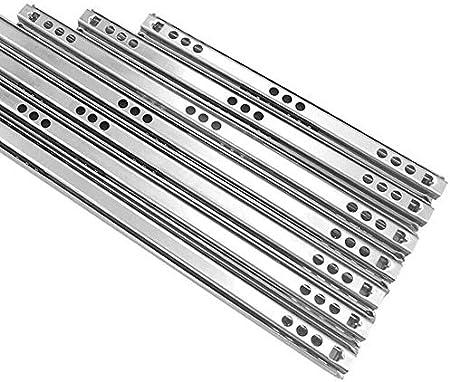 1 paio di guide per cassetti con cuscinetti in metallo per cassetti di ricambio da 17 mm. argento