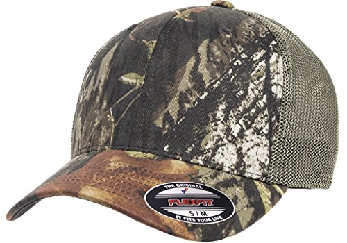 Premium Original Blank Flexfit Mossy Oak Stretch Mesh Trucker Cap (Mossy Oak Breakup/Olive - Trucker Hat Flexfit